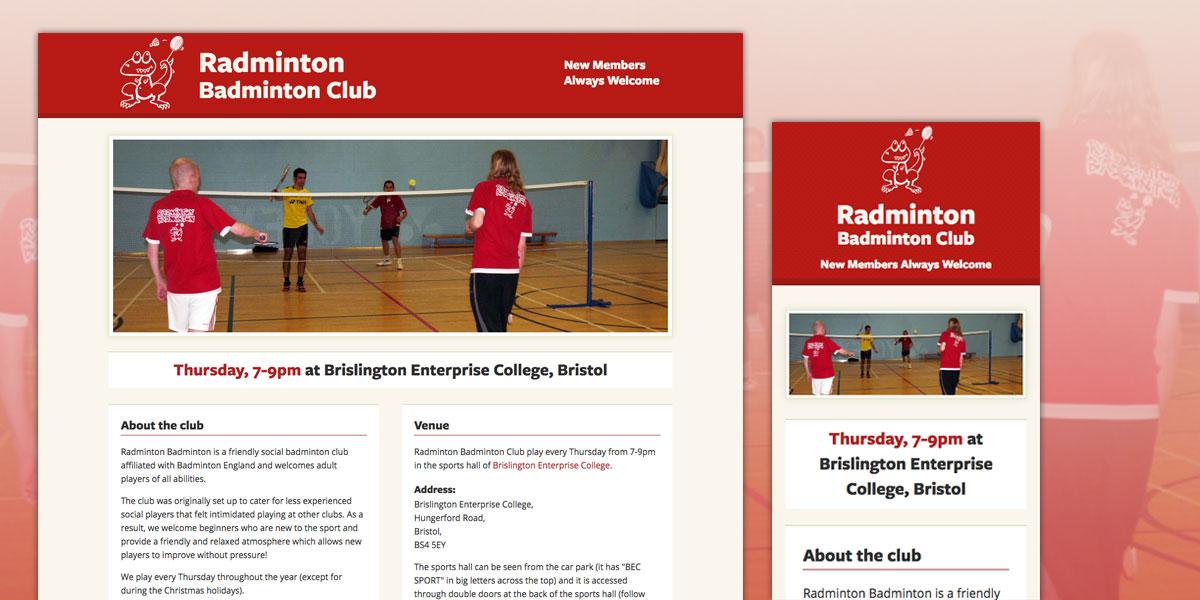 Radminton Badminton Club Website