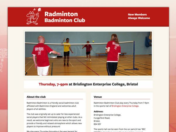 Radminton Badminton Club Website