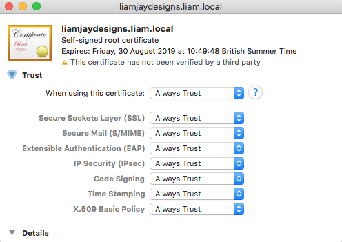 Setting the SSL certificate to be trusted locally
